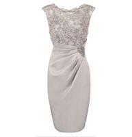 Hot Selling Longitud de la rodilla Cucharada de gasa Madre de los vestidos de la novia en stock con encaje con cuentas