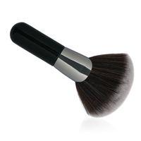 1 unids en forma de abanico de cepillos de maquillaje de pelo sintético mango de madera polvo corto blush polvo suelto Mul-purpose maquillaje herramientas de cepillo cosmético