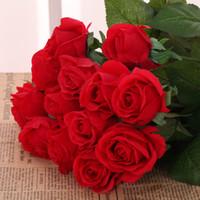ارتفع الزهور الاصطناعية زهور الحرير الاصطناعي الزهور الرئيسية ديكور للغرفة حفل زفاف عيد الميلاد 7 ألوان للاختيار