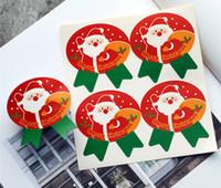 크리스마스 스티커 산타 클로스 타원형 리본 모양 스티커 선물 장식 인감 레이블 파티 공급 공급 호의