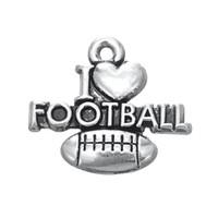 Envío gratis Nueva moda Fácil de diy 30pcs me encanta el fútbol venta caliente deportes encanto joyería haciendo ajuste para collar o pulsera