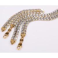"""Smycken uppsättningar 18k guldfylld gf 2-tone pringting curb kubansk kedja 9mm armband halsband (8,66 """"+ 23,6"""")"""