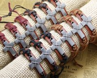 cross bracelets Designs Leather Bracelet Antique Cross Knitt...
