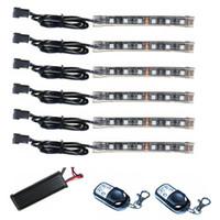 6 unids 15 Color SMD5050 RGB Tira Flexible LED 2 Controles Remoto Inalámbrico Luces Kits Para iluminación accesoria de la Motocicleta