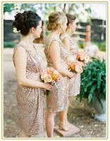 Robes de demoiselle d'honneur scintillantes populaire rose or paillettes à volants longueur au genou robe de mariée sexy porter robes de demoiselle d'honneur maxi robe
