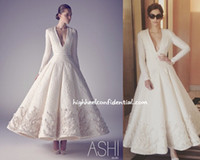 1950 년대 무도회 드레스 순수한 흰색 아시 스튜디오 긴 소매 딥 브이 넥 새틴 구슬 맞춤형 맞춤 파티 가운 무료 배송