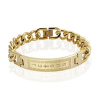 18 k oro lleno pulseras brazaletes hombres joyas jesus cruz acero inoxidable pulseiras
