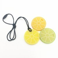Lemon Slice Pendant Silicone Teether Necklace BPA Free Silic...