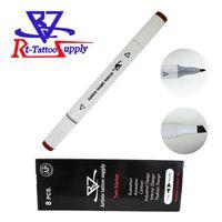 8 teile / los Braun Farbe Doppelkopf Tattoo Haut Marker Sterile Chirurgische Kosmetische Positionierung Stift Chirurgische Haut Marker Für Augenbraue