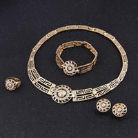 18 k Altın Kaplama Düğün Afrika Boncuk Takı Seti Kristal Vintage Küpe Bilezik Kolye Yüzük Moda Lionhead 5 takım / grup