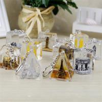 Bâtiment célèbre tour Eiffel Triomphe sac pendentif fuite d'huile de bande dessinée petit cadeau créatif cristal porte-clé livraison gratuite