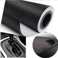 ! 127X30 cm 3D Noir Fiber De Carbone Vinyle Film En Fiber De Carbone De Voiture Wrap Feuille Rouleau Film outils Autocollant Decal voiture style