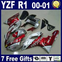 Fortuna Verkleidungssatz für YAMAHA 2000 2001 YZF R1 Verkleidungssätze rot silber yzf1000 00 01 yzfr1 Verkleidungssatz Karosserie U7W5 + 7 Geschenke