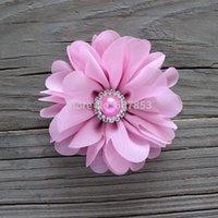 120pcs ragazza capelli fiore ballerina fiori fiori in chiffon, fiori in strass per fasce per capelli, accessori per capelli 7 cm