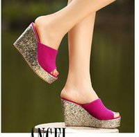 Sequined glitter platform wedge women sandals shoes beach sl...