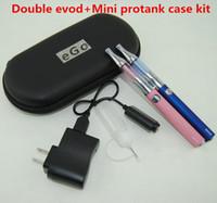 Hot elektronische Zigaretten Double eGo evod Batterie Starter Kit mit ecigs Mini Protank 1 Vaporizer Zerstäuber Tank vape Stifte Box mod Fall Kits