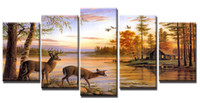 YIJIAHE Painting Modern Wall Art, Deers Picture Print on Canv...
