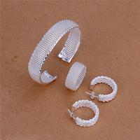 S249 Preço de Fábrica 925 pulseiras de malha de prata esterlina anel do parafuso prisioneiro brincos Conjunto de Jóias de Moda presente de casamento frete grátis
