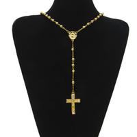 حار بيع الهيب هوب نمط الوردية الخرزة الصليب قلادة يسوع قلادة مع واضحة الراين 24 بوصة قلادة الرجال النساء أزياء المجوهرات الإزهار