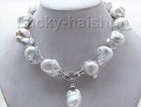 """Envío gratis Nueva joyería de perlas finas Rare 18 """"22-25mm blanco barroco keshi Collar de perlas colgante"""