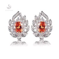 Romantic R680 Wholesale Orange Cubic Zirconia Fashion Silver...