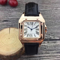 Gold Casual brand women watches luxury 32mm Square dial Leat...