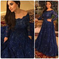 Bleu marine robes de soirée arabes 2015 Blingbling une ligne de l'épaule Hotfix strass manches longues en dentelle soirée robes de bal dhyz 01