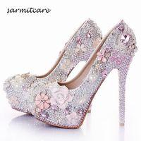 W015 수제 완전 모조 다이아몬드 진주 꽃 덮여 플랫폼 하이힐 화이트 핑크 웨딩 신발 사용자 정의 신부 신발 신데렐라 신발 신발