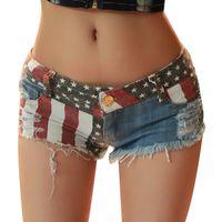 패션 여름 여성의 섹시한 찢어진 구멍 미국 국기 데님 클럽 핫 팬츠 반바지 낮은 허리 Nightout Clubwear 청바지