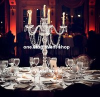 Beautiful tall metal acrylic silver 5 arms candelabra for we...