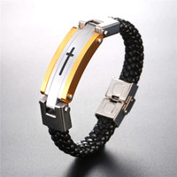 U7 Men Leather Bracelet Cross Stainless Steel High Quality L...