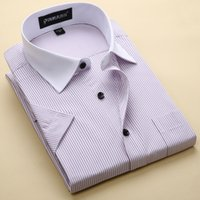 Al por mayor-Nueva marca de la llegada de los hombres de la raya de las camisas ocasionales de negocios sociales camisa formal de alta calidad de manga corta camisa de vestir para hombres
