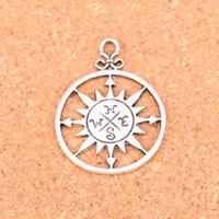 34 unids plata antigua plateado brújula colgantes de los encantos para la joyería europea que hace DIY hecho a mano 36 * 27 mm