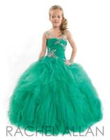 Rachel Allan Girls Pageant Kleider für Teenager Illusion Hals langarm Perlen Rüschen Bodenlangen Größe 13 Party Kinder Blumenmädchen Kleider