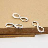 50pcs / lot Digital 8 Infinity Sign Charm orecchini pendenti di connettori 8 * 23mm argento antico braccialetto