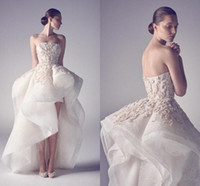 Krikor Jabotian Broderie Haut Bas Robes De Mariée Sexy A Ligne Bretelles Dos Nu Applique Custom Made Party Robes