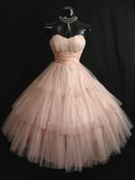 Vintage 50'in Kabuk Pembe Gelinlik Modelleri Straplez Katmanlı Tül Sequins Çay Boyu Kısa Homecoming Elbise Balo Düğün törenlerinde