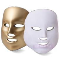 Atacado 6 pcs / Carton LED Máscara Facial 3 Cores Photon Vermelho Azul Verde PDT Máscara Facial LED Máquina Facial Para Clareamento Da Pele Rejuvenescimento