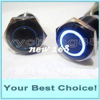 50 stks / partij 16mm 12 V Ring LED Verlichte Momentary Waterdichte Anti-Vandal Black Metal Push-knop Schakelaar (DHL gratis verzending)