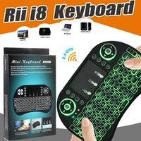 Air Mouse Mini Rii i8 2.4GHz teclados con retroiluminación 3 colores retroiluminados Touchpad teclado inalámbrico de control remoto para Smart Android MXQ TV Box