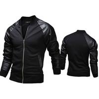 Neue Mode Jacke, personalisierte Baseball-Nähte Kleidung Leder Slim Fit Jacke, 2 Farben Oberbekleidung Mäntel für Männer