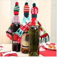 2017 Christmas Wine Bottle Decoration Christmas Knitted Scar...