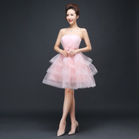 Promotion Lace up Strapless short Bridesmaid Dress performan...