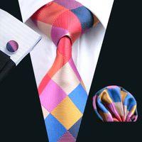 Erkek kravat Kırmızı Ekose Ipek Kravat Hanky Kol Düğmeleri Seti Jakarlı Dokuma İş Moda Aksesuarları Yüksek Kalite Fromal Kravatlar Rahat Set N-0216