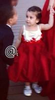 2015フラワーガールドレス足首長さのサテンドレス赤と白の母と娘のパーティードレス