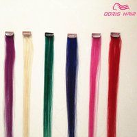 colorized hair Mix 5 color 5pcs hair clip in human Hair Exte...