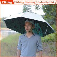 Atacado-livre e rápido transporte! 1 PCS Grande boné de pesca sombreamento dobrável guarda-chuva à prova de sol guarda-chuva chapéus
