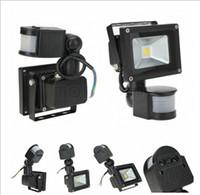 Vente chaude 10W LED lumière d'inondation PIR Motion Sensor AC85-265V led lampe étanche éclairage extérieur LED Projecteurs