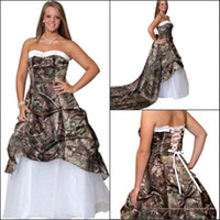 2017 Camo Robes De Mariée Chérie Une Ligne Pick Up Lacets Dos Tulle Court Train Custom Made Robe De Mariée Custom Made Pas Cher