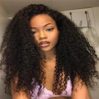 Siyah Kadınlar için Dantel Açık Peruk Kinky Kıvırcık humanhair% 150 Yoğunluk Brezilyalı Bleach Knots İşlenmemiş Bebek Saç tam dantel peruk